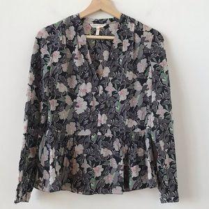 Rebecca Taylor floral silk peplum top